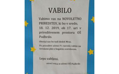 VABILO NA NOVOLETNO PRIREDITEV